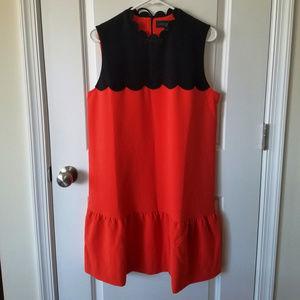 NWOT Drop-Waist Scallop-Trim Dress